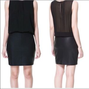 Like New Zara Faux Leather and Sheer Combo dress
